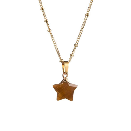 Star Tiger Eye Necklace Gold