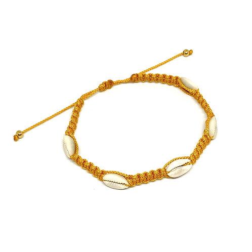 Shell Braided Ocher Yellow Anklet