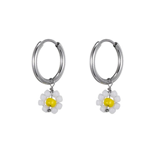 Hoops Daisy White Silver
