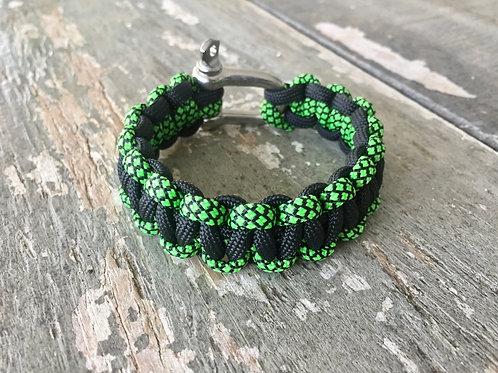 Paracord Bracelet - Black / Diamond Green
