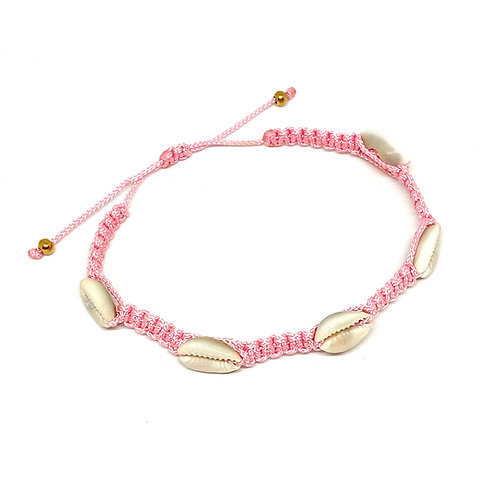 Shell Braided Baby Pink Anklet