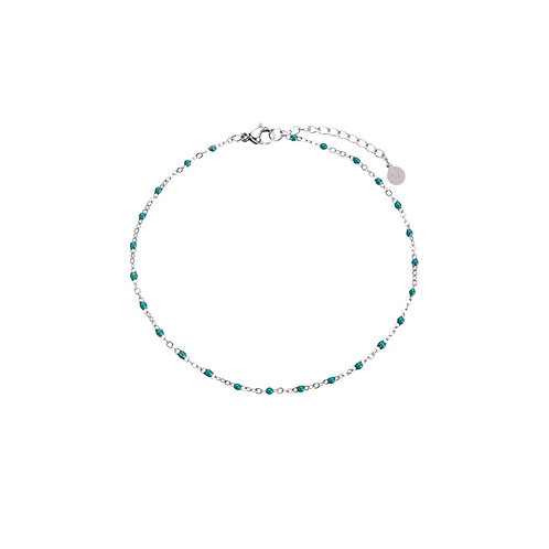 Anklet Green Silver