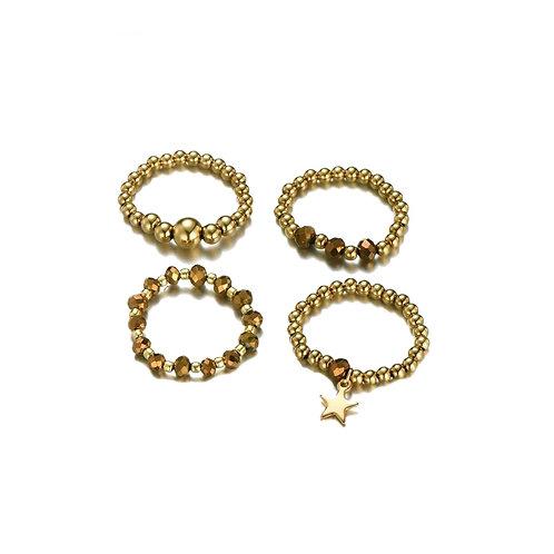 Rings Set Of 4 Brown Gold