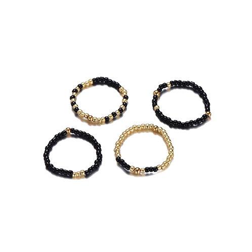 Rings Set Of 4 Black Gold