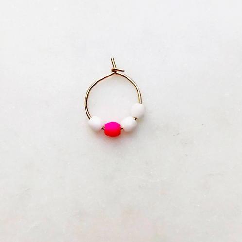 Earring Thin Neon Pink White Bead By☆Nouck
