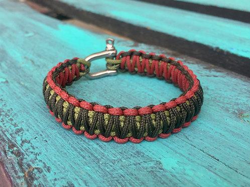 Paracord bracelet - Moss Green / Army Green / Crimson