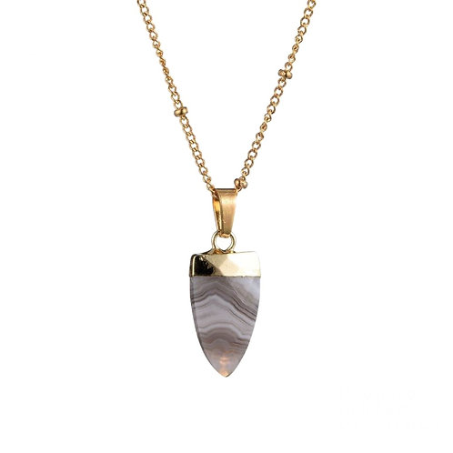 Tooth White Agate Necklace Gold