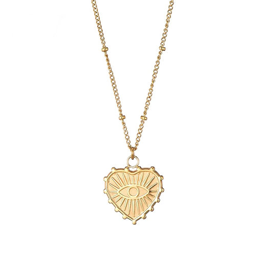 Heart Eye Gold Necklace