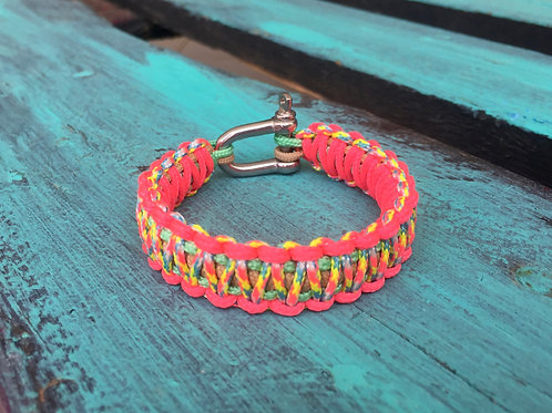 Paracord bracelet - Candy Cane / Salmon Pink / Mint Green / Goldenrot