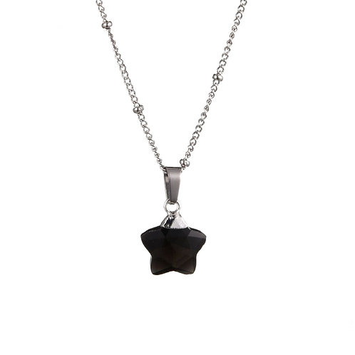Star Obsidian Necklace Silver