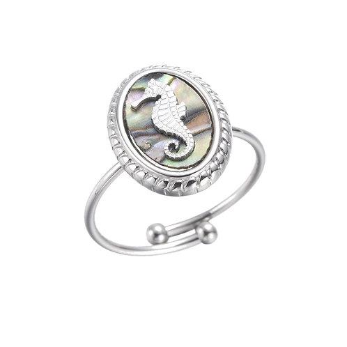 Ring Seahorse Grey Silver