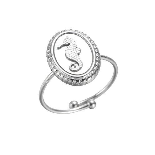 Ring Seahorse White Silver