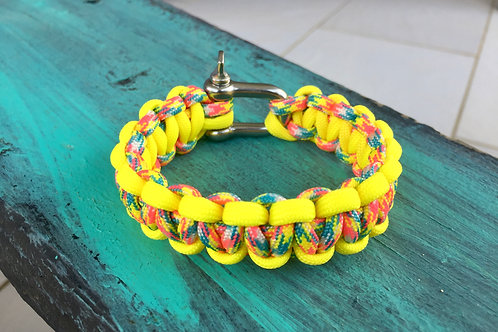 Paracord Bracelet - Candy Cane / Neon Yellow