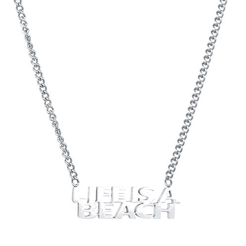Life Is A Beach Necklace Silver