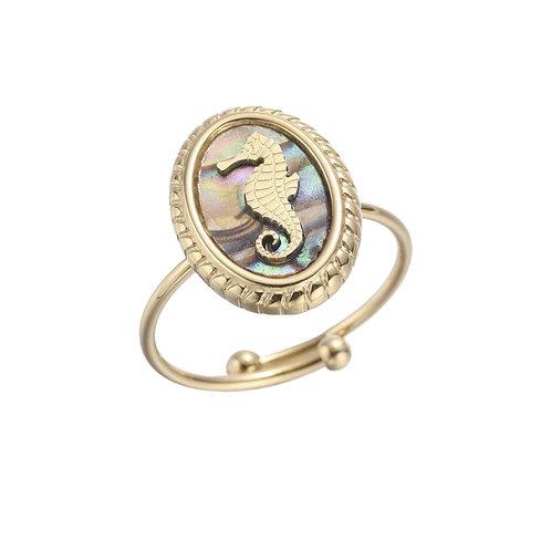 Ring Seahorse Grey Gold