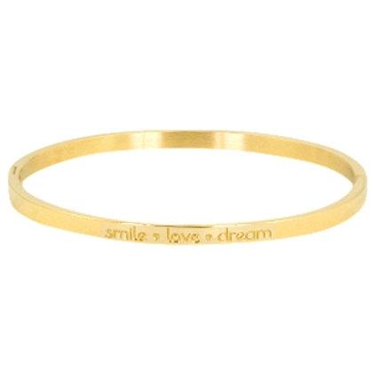 """""""Smile, Love, Dream"""" stainless steel bracelet (gold)"""