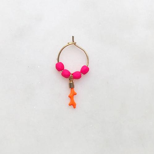 Earring Thin Neon Orange Coral By☆Nouck