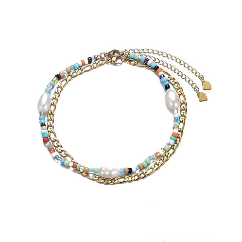 Anklet Double Blue Gold