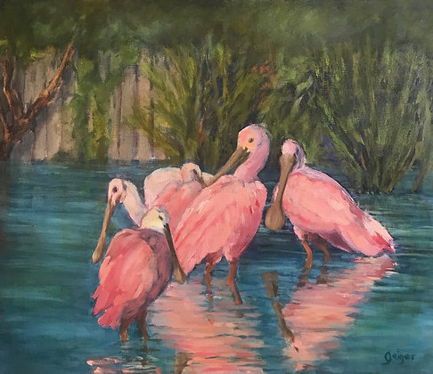 Spoonbills Family Original