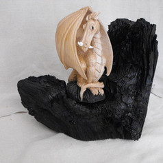 Dave Johnson_wood carvings_Dragon on bog