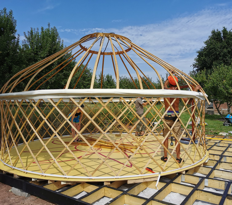 Yurt under construction