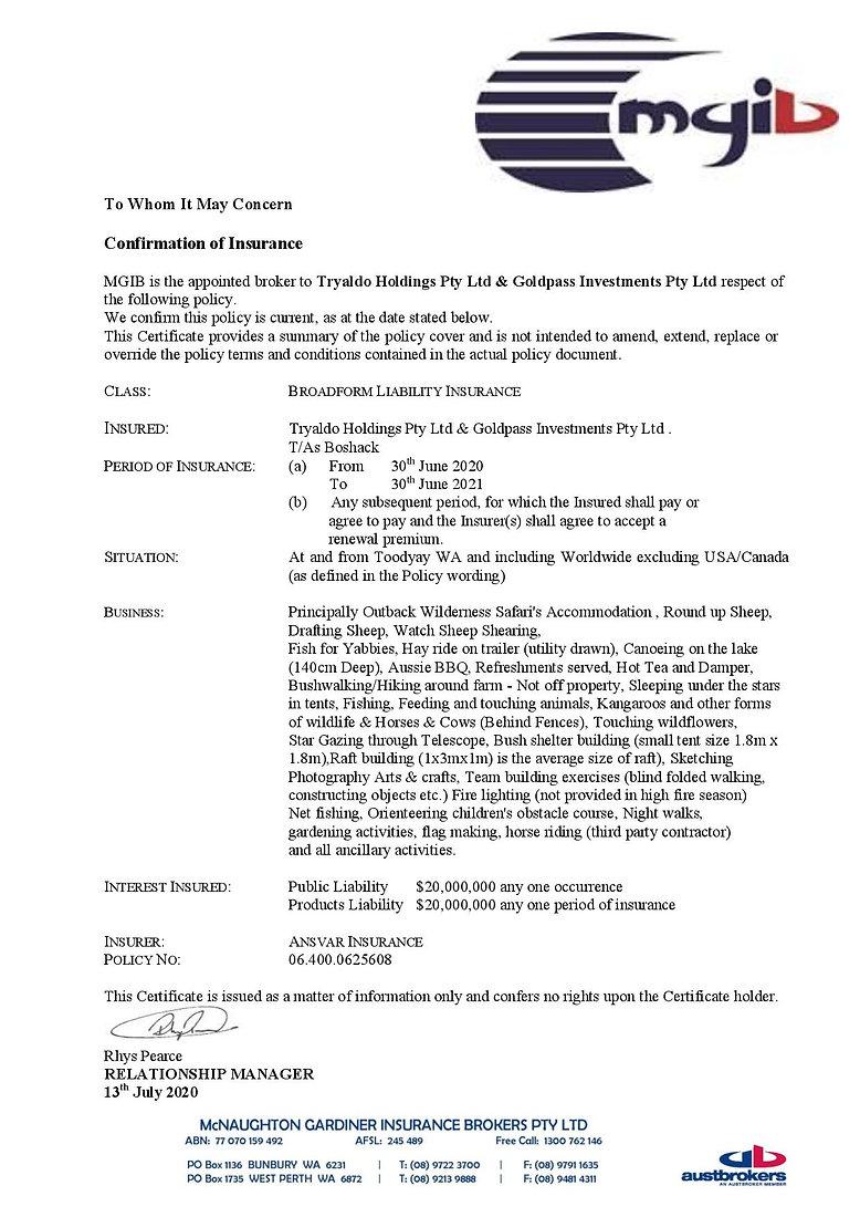 Certificate - Liability Insurance 2020-2