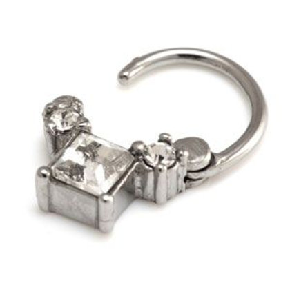 Steel Square Gem Hinged Micro Ring - 1.2mm