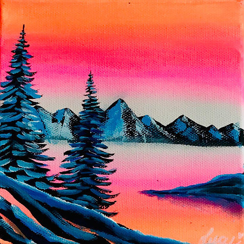 """Warm Sunset, Cold Trees 5""""x5"""""""
