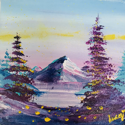 """Mountain Landscape 6"""" X 6"""""""