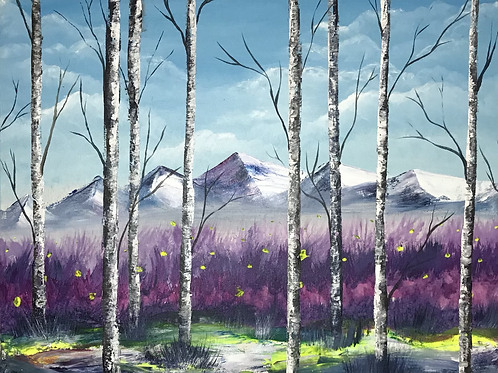 """Yellow and Purple with Birch Trees 12""""x16"""""""