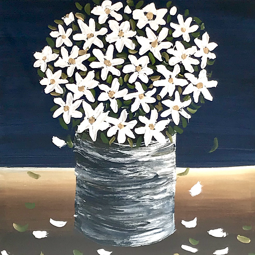 """Thick Daisies 16""""x16"""" SOLD"""