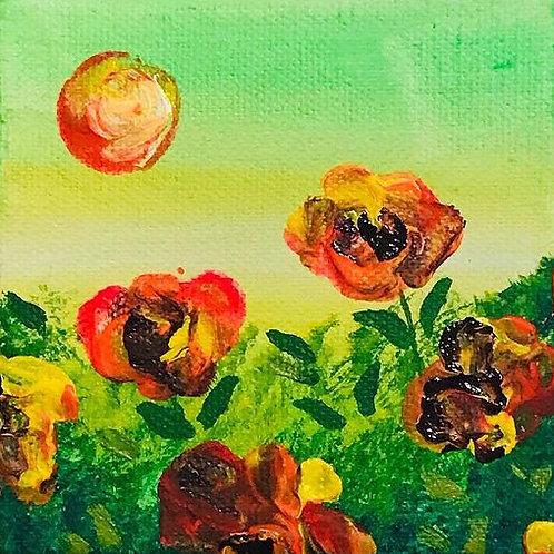 """Orange Flowers 4"""" X 4"""""""