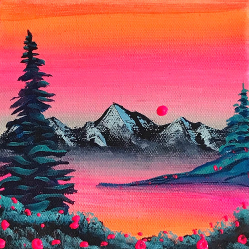 """Tiny Warm Sunset on Cold Trees 5""""x5"""""""