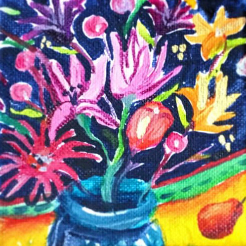 """Flowers and a Pear 4"""" X 4"""""""
