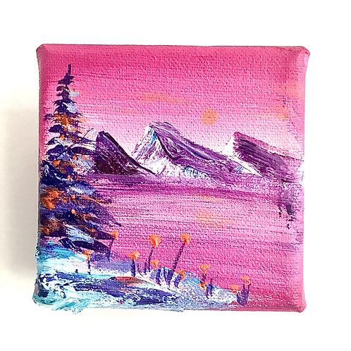 """Tiny pink landscape 2""""x2"""""""