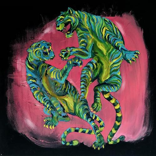 "Neon Tigers 20""x20"""