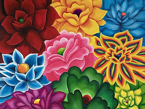 "Community of Flowers 20""x24"""