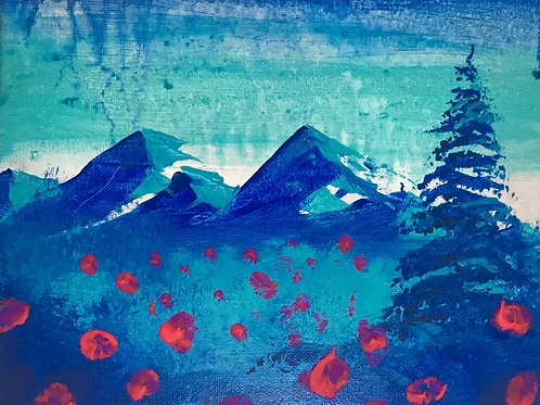 """Blue with Flowers 8"""" X 10""""SOLD"""