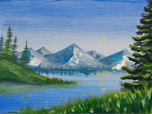 "Lake and Tree Landscape 5""x7"""