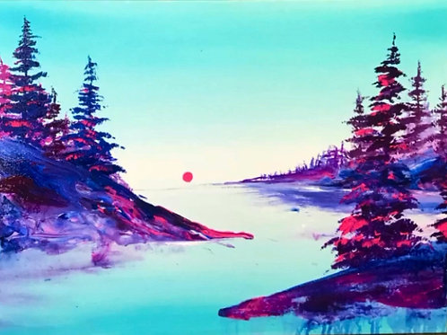 "Neonscape Calm Waters 18"" X 24"""