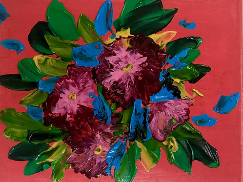 """Thick Flowers 8"""" X 10""""SOLD"""