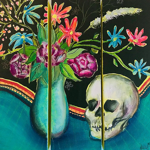 """Living and Dying 4""""x10""""x3 Triptych"""