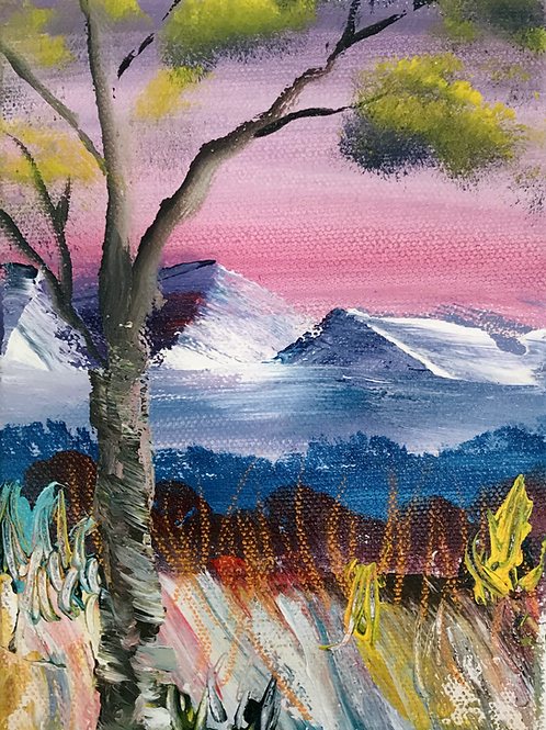 """Tree in the Mountains 5"""" X 7"""""""