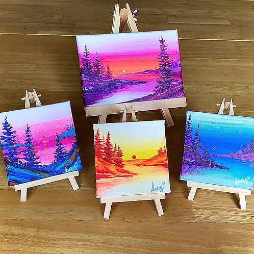 """Tiny Easel Landscapes 3"""" X 3"""", 3"""" X 5""""SOLD"""
