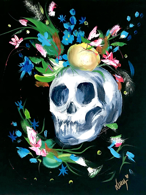 """Skull with Flowers 18"""" X 20"""""""