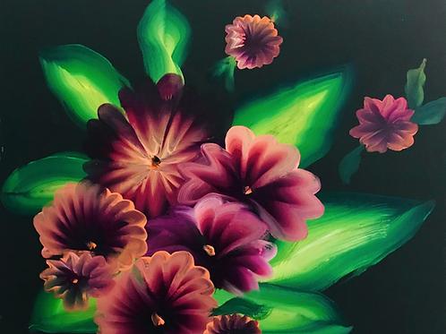 "One Stroke Flowers 18' X 20"""