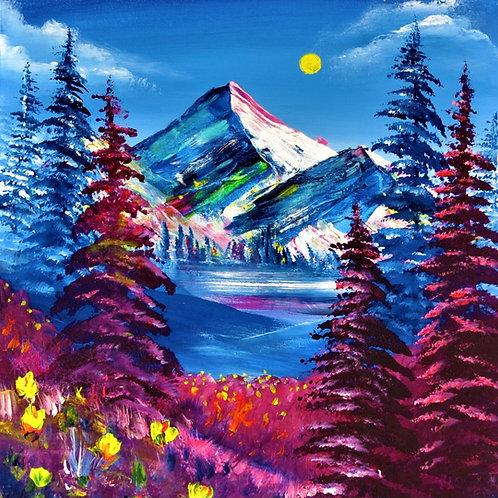 "Neonscape Mountains 20"" X 20"""