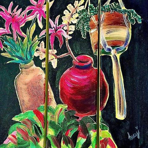 """Plants Triptych 10"""" X 30"""" X 3"""