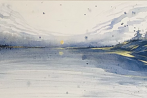 """Navy gold Sunset 12""""x40"""" SOLD"""