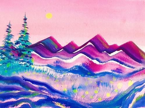 "Water Colour Mountains 8""x10"""